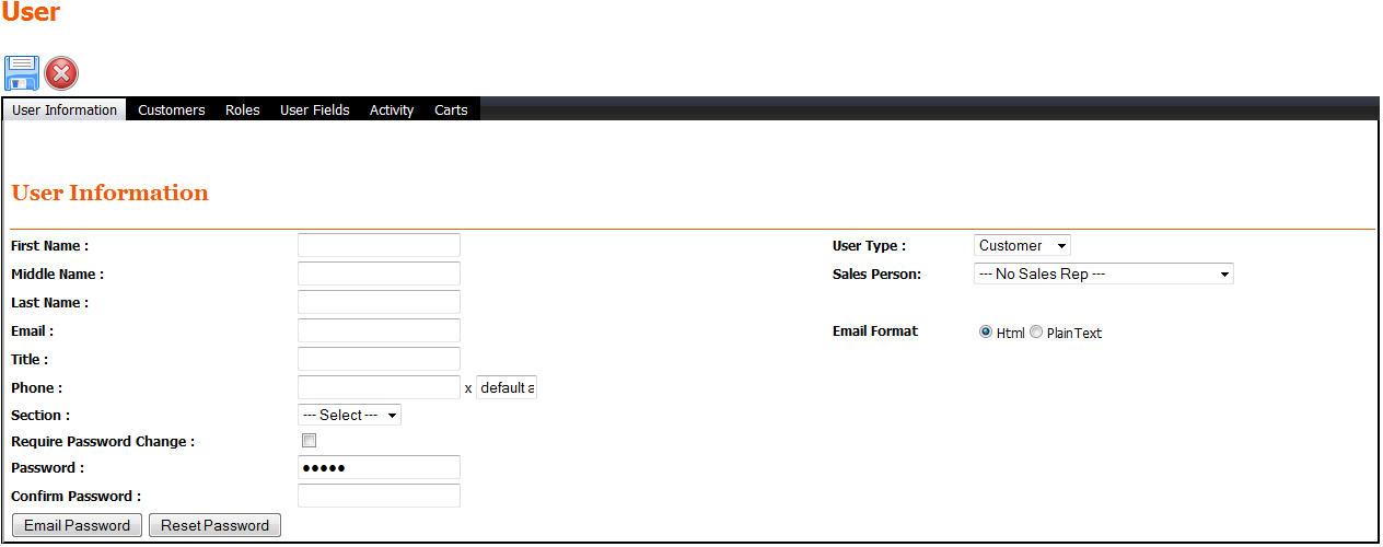 Enterprise User Information Screen
