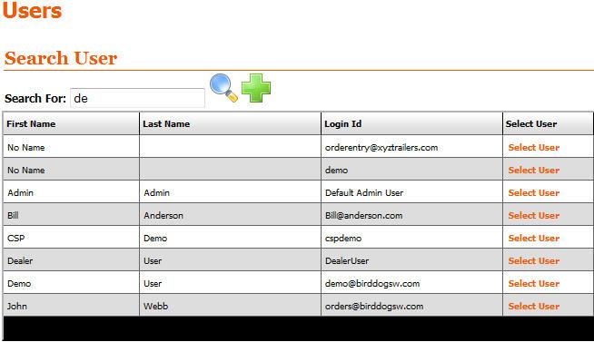 Enterprise User List Screen