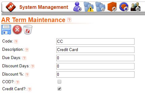 Credit Card Terms Code