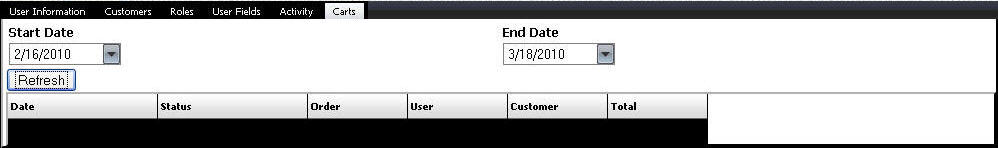 Enterprise User Carts Screen
