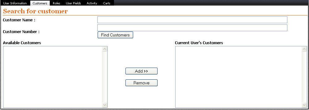 Enterprise User Customer Screen